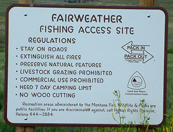 Fairweather Fishing Access Site sign